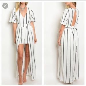 Dresses & Skirts - White & Black Stripe Romper with Maxi Skirt